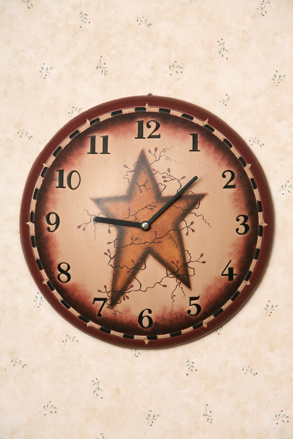 Your Heart's Delight Primitive Star Wall Clock, 11-1/4-Inch