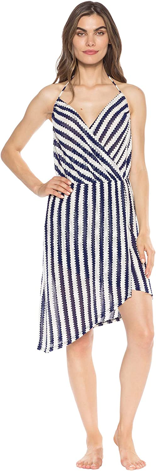 ISABELLA ROSE Womens Ships Ahoy Faux Wrap Halter Dress Swim Cover Up