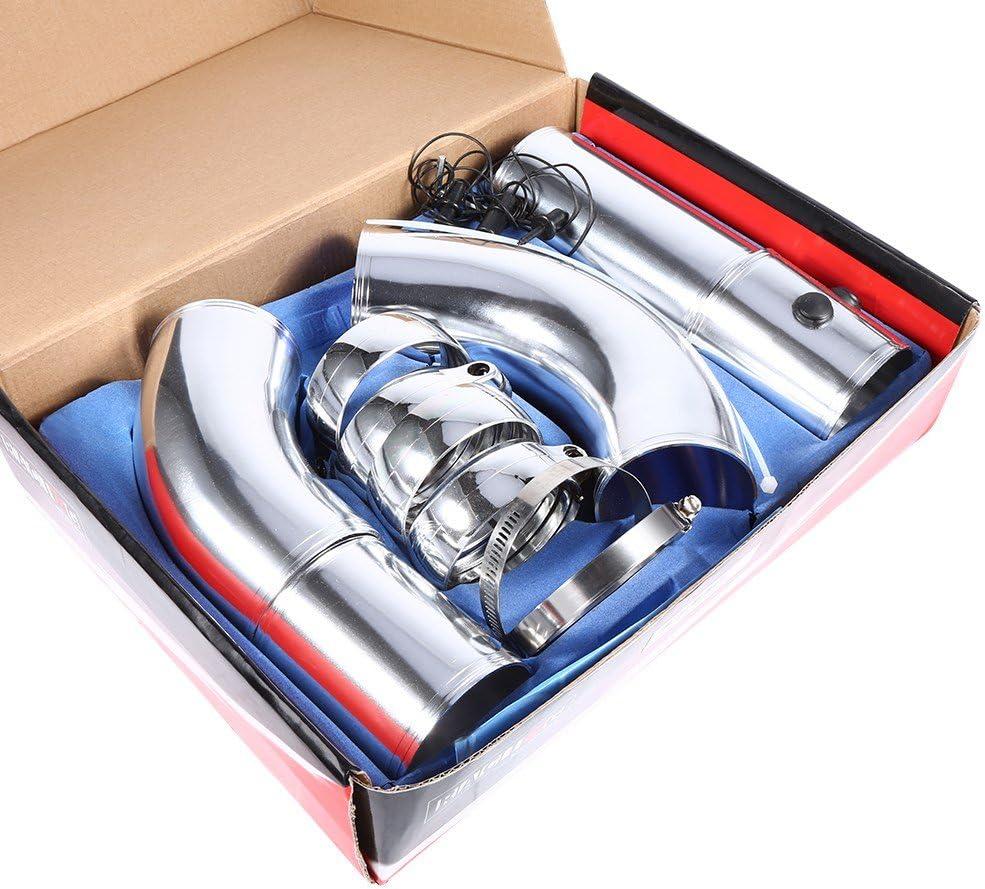 realizzato in lega di alluminio ad alta portata aria aspirata filtro raccordo tubi set adatto per la maggior parte dei veicoli Universal car kit aspirazione