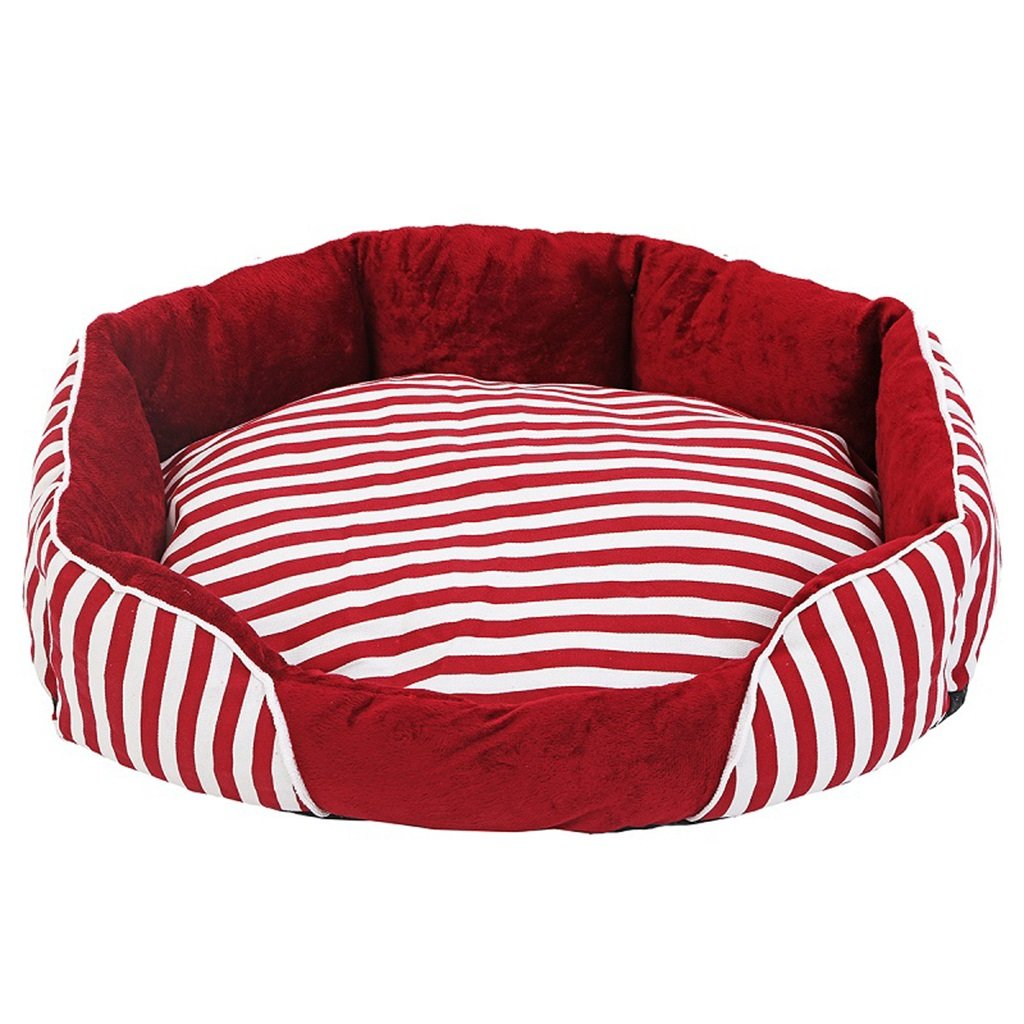 54cm Pet bed Round red and white striped PP cotton four seasons were washable cats and kennels (Size   54cm)