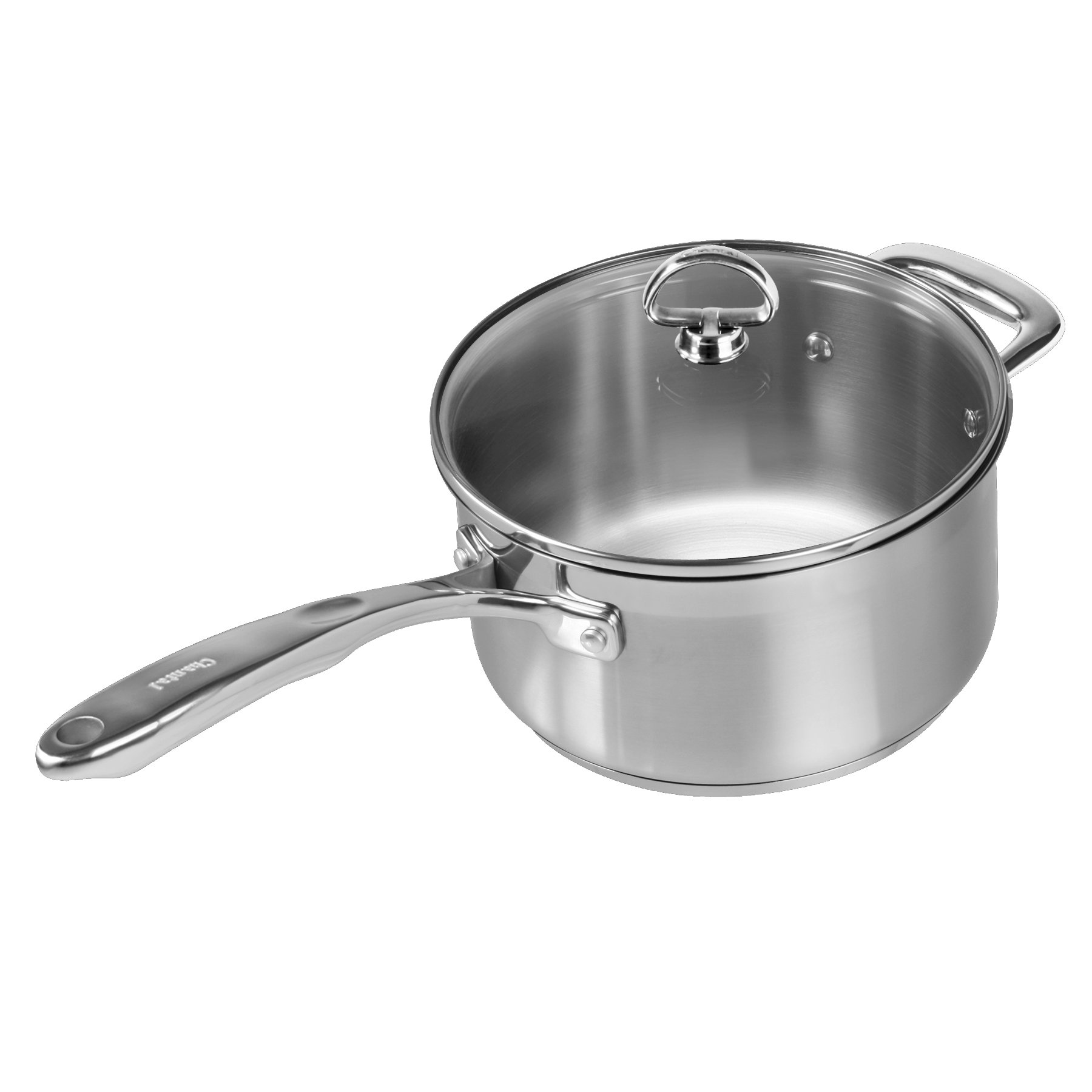 Chantal SLIN35-2035 Induction 21 Steel Sauce Pan with Glass Tempered Lid (3.5 Quart)