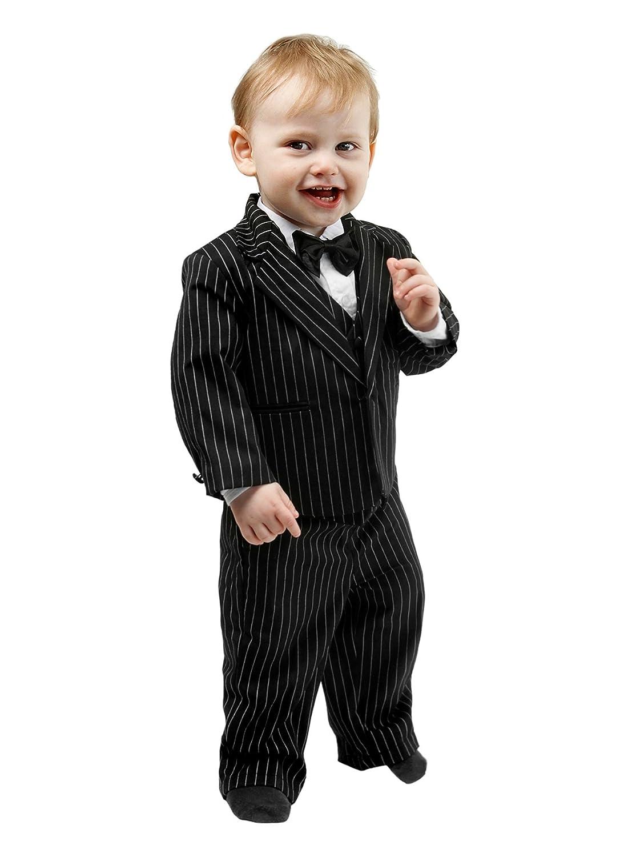 Schicker Taufanzug / Baby-Anzug 5-teilig, schwarz mit Nadelstreifen ME-TA-SND