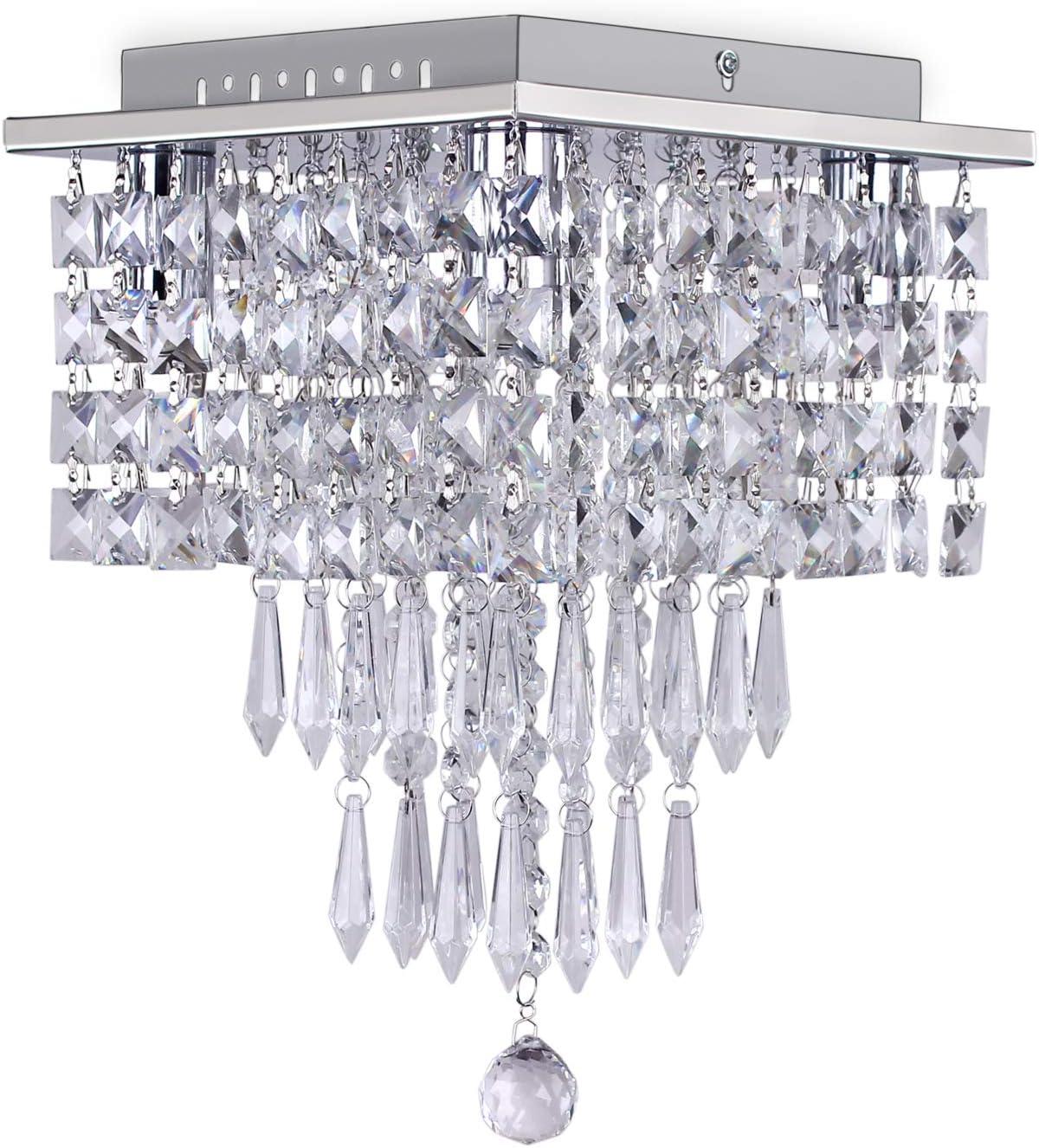 Mini Crystal Chandelier Modern Square Ceiling Lighting Fixture 3 Tiers Raindrop Crystal Flush Mount Pendant Light for Bedroom Living Room Hallway Dining Room,4 Lights,E14 Base