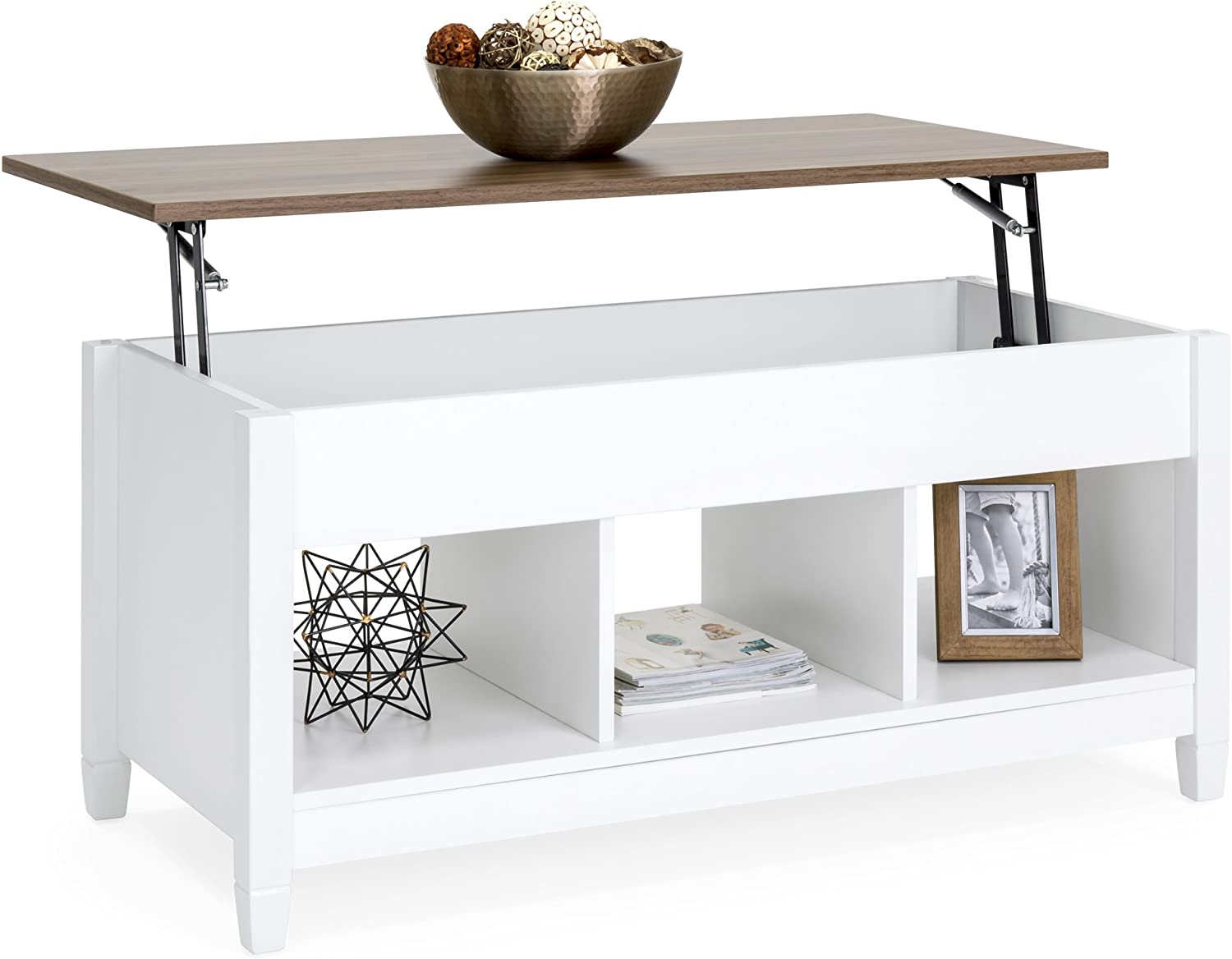 Best Choice Products Wooden Modern Multifunctional Coffee Dining Table for Living Room, Décor, Display w/Hidden Storage and Lift Tabletop, White