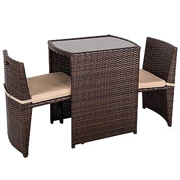 Amazon.com: Muebles de jardín de patio, 3 piezas mimbre con ...