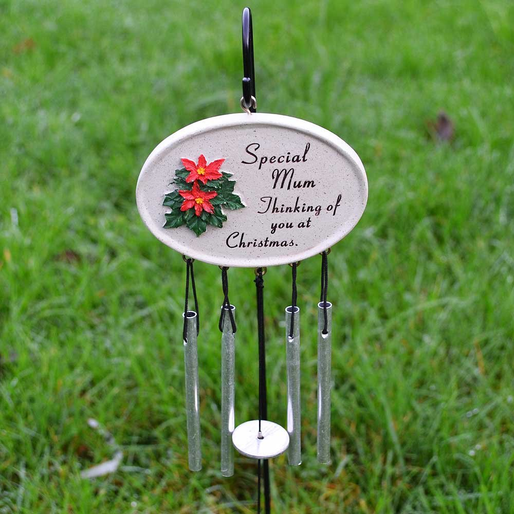 Angraves Special Mum at Christmas Poinsettia Memorial Wind Chime