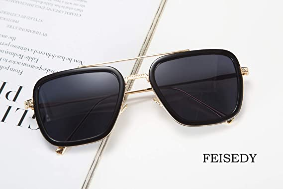 Amazon.com: FEISEDY Retro Square Aviator Sunglasses Iron Man ...