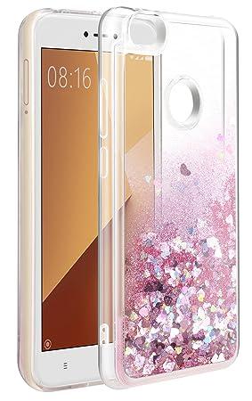 Funda Xiaomi Redmi Note 5A Prime, Carcasa Redmi Note 5A Prime [Cristal Transparente] 3D Líquida Glitter Bling Silicona [Shock-Absorción] Brillante ...