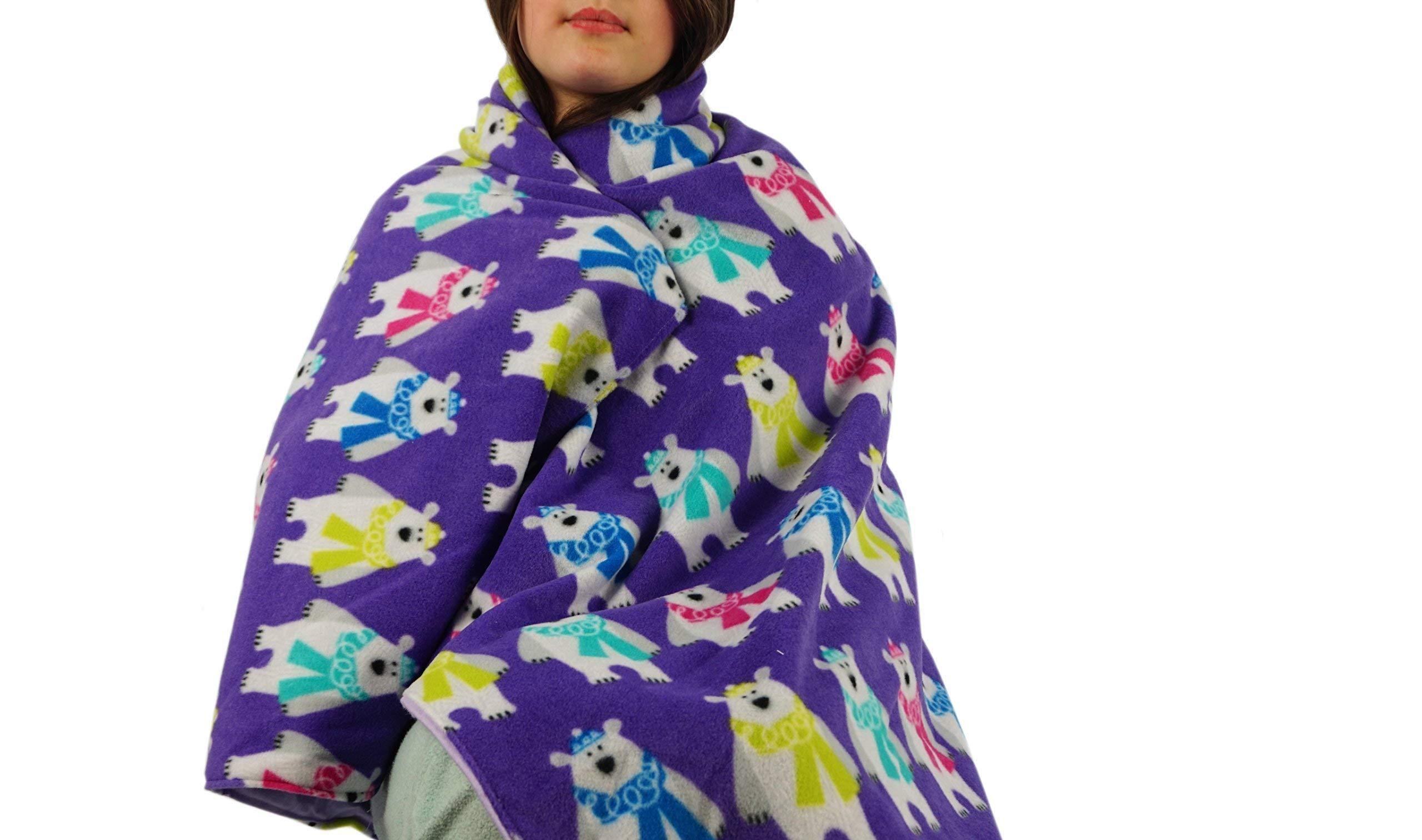 Fleece throw blanket- Purple polar bears