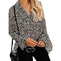Cromoncent La Mujer Leopardo Moda Flare Sleeve Button Down Blusones