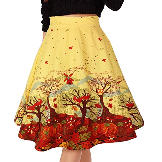 1950s Swing Skirt, Poodle Skirt, Pencil Skirts Musever Womens Pleated Vintage Skirts Floral Print Casual Midi Skirt $18.99 AT vintagedancer.com