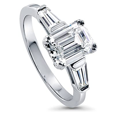 deb4cb05a BERRICLE Rhodium Plated Sterling Silver Emerald Cut Cubic Zirconia CZ  3-Stone Anniversary Engagement Ring