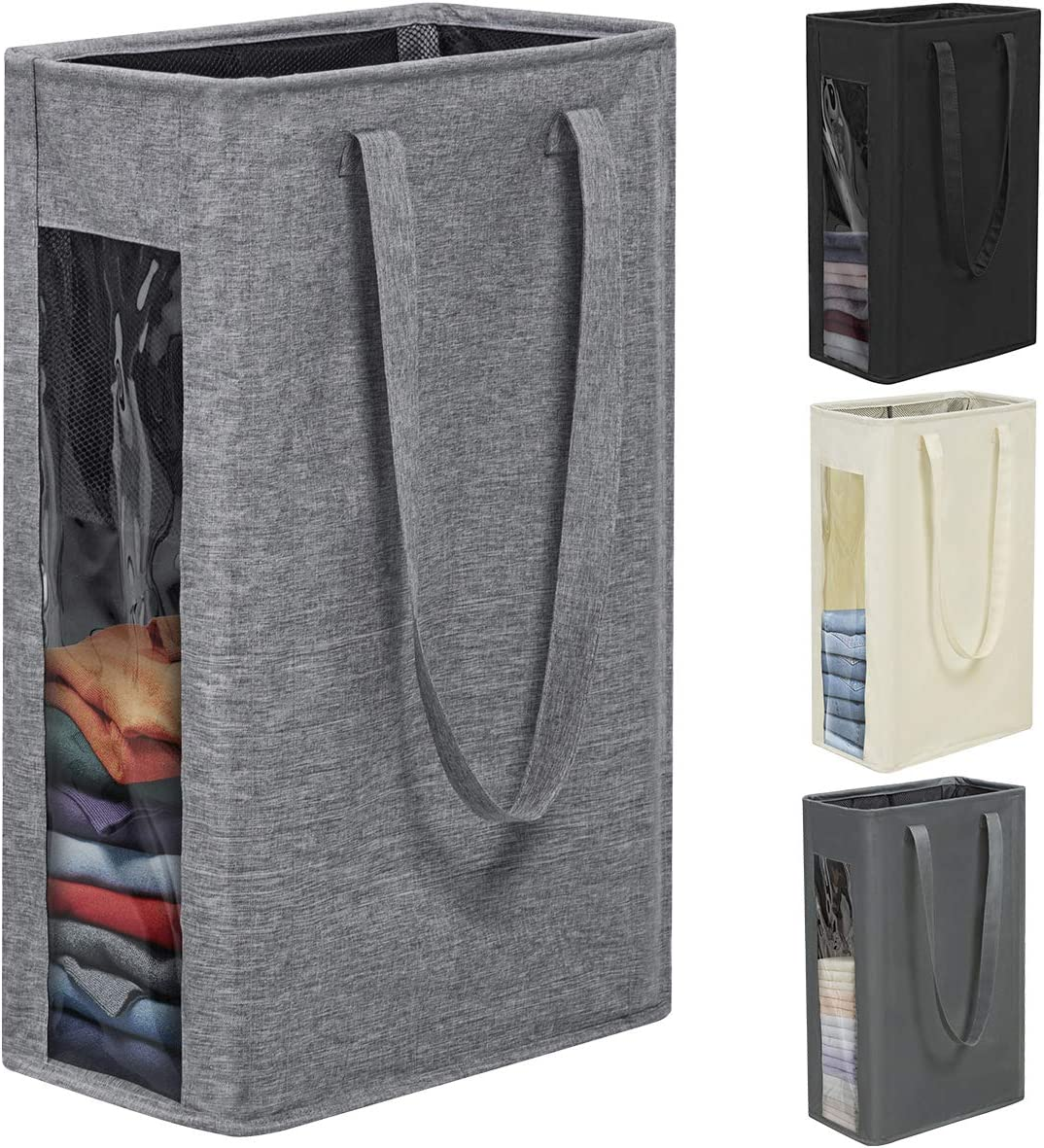 Chrislley 66L Slim Laundry Hamper Tall Laundry Basket Narrow Laundry Hamper Visual Window Small Laundry Hamper Large Baskets for Laundry(Upgrade-Grey)