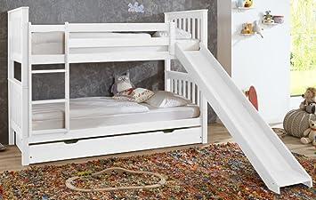Etagenbett Weiss Mit Rutsche : Etagenbett mit rutsche beni l kinderbett spielbett bett weiß stoff