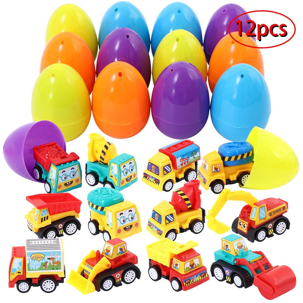 Twister.CK Easter Eggs Toys 12Pcs Filled with Mini Engineering Cars for Boys Easter Theme Party Kids Toys