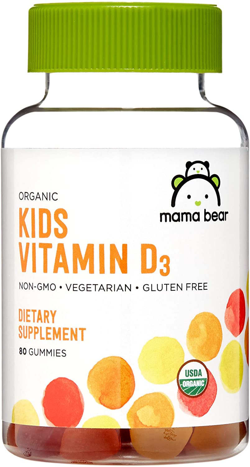 Amazon Brand - Mama Bear Organic Kids Vitamin D3 25 mcg (1000 IU) per serving, 80 Gummies