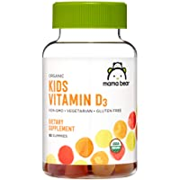 Amazon Brand - Mama Bear Organic Kids Vitamin D3 25 mcg (1000 IU) per serving, Bone...