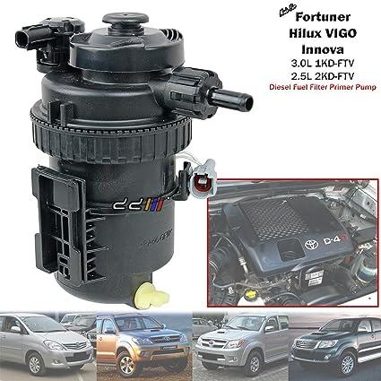 amazon com: diesel fuel filter primer pump for toyota hilux vigo fortuner  2 5l 3 0l 1kd 2kd: automotive