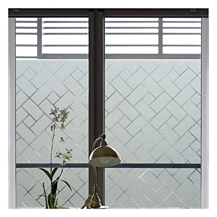 Coavas Non Adhesive Window Film Stained Glass Window Film Static Frosted Privacy  Film For Home