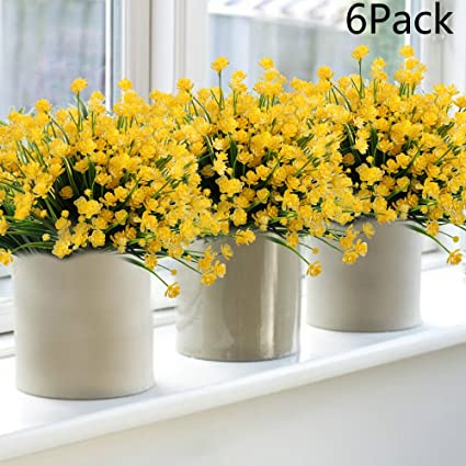Amazon 6pack faux flower artificial yellow daffodils fake 6pack faux flower artificial yellow daffodils fake flowers greenery shrubs plants plastic bushes indoor outside decor mightylinksfo