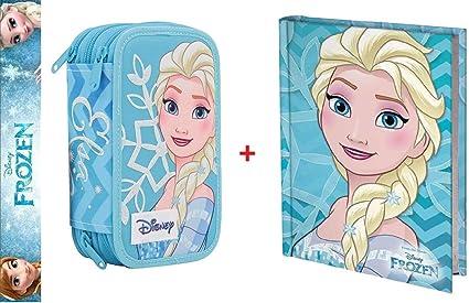 Estuche Deluxe escolar completo de 3 pisos Frozen Elsa + diario azul turquesa: Amazon.es: Oficina y papelería