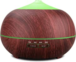 Tenswall 400ml Ultrasonic Aromatherapy Essential Oil Diffuser, Cool Mist Humidifier Whisper Quiet Operation - Wood Grain-Changing LED Light & Auto Shut-Off Function 4 Timer Settings