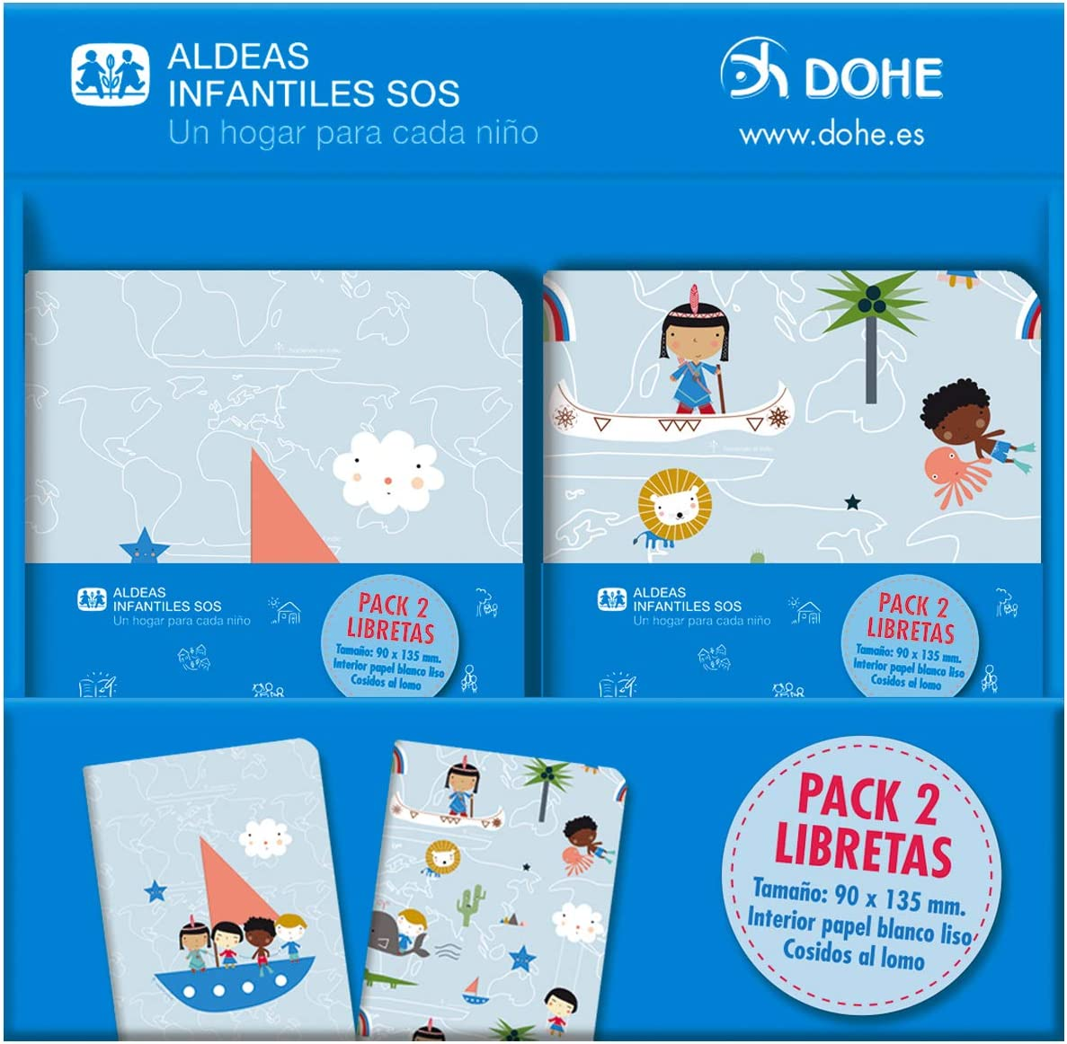 Expositor de libretas de Aldeas Infantiles SOS (16 packs de 2 libretas): Amazon.es: Oficina y papelería