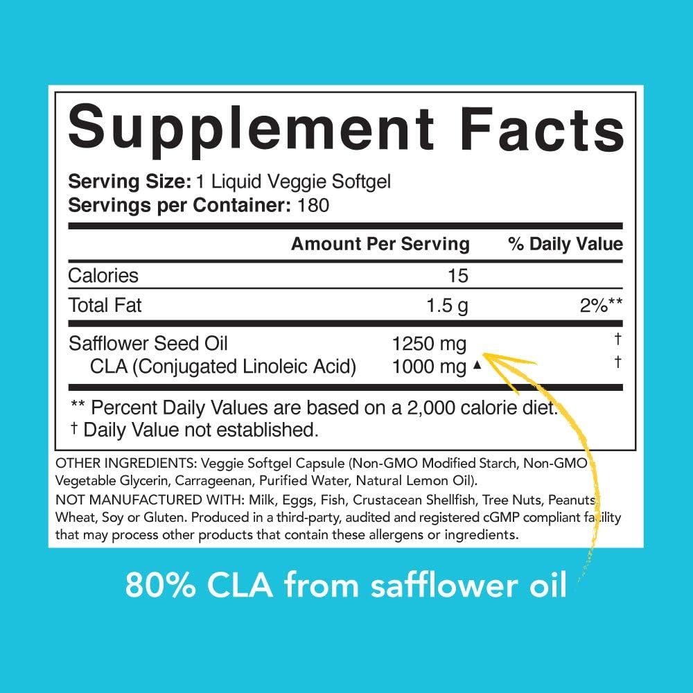 CLA 1250 (Vegan) from Non-GMO Safflower Oil | 100% Plant -Based Supplement for Men & Women | Non-GMO Verified & Gluten Free (180 Plant Gel Capsules): Health & Personal Care