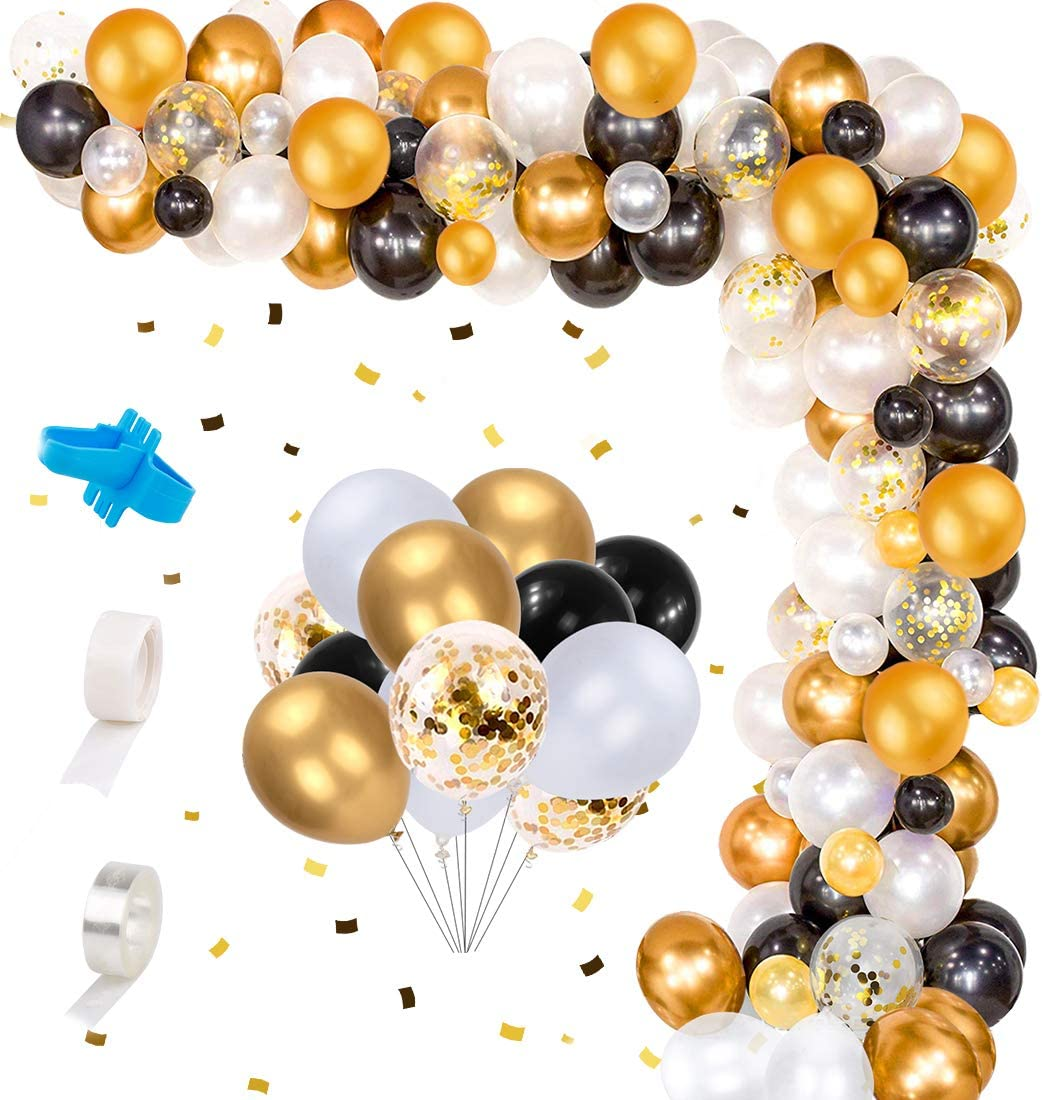 122PCS Confetti Balloons Arch Garland Kit, White Gold Black Balloons for Birthday Party Decorations Wedding Graduation Decor