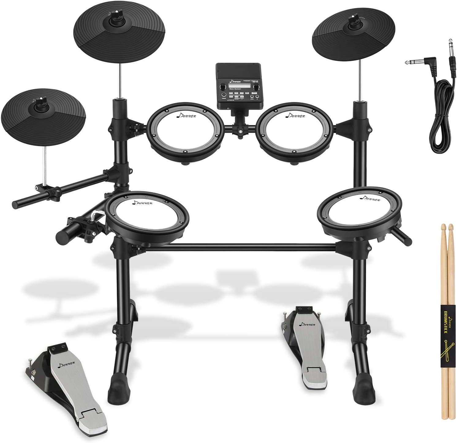 Donner DED-100 Electric Drum Set for Christmas Electronic Kit with Deluxe Mesh Kit, Sticks and Audio Cable, More Stable Iron Metal Support for Adults Teens