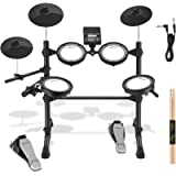 Donner DED-100 Electronic Drum Set - Eight Pieces Mesh Electric Drum Kit with 195 Sounds, Drumsticks & Audio Cables…