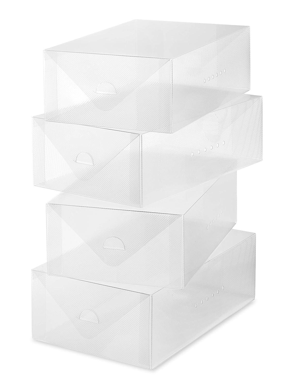Whitmor Clear Vue Women's Shoe Box - Heavy Duty Stackable Shoe Storage - (Set of 4)
