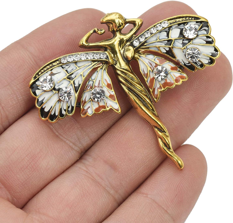 YYBONNIE Vintage Guardian Angel Jewelry Golden Crystal Flying Angel Wings Brooch Pin Wedding Bouquet Lapel Pin Jewelry for Women Girls