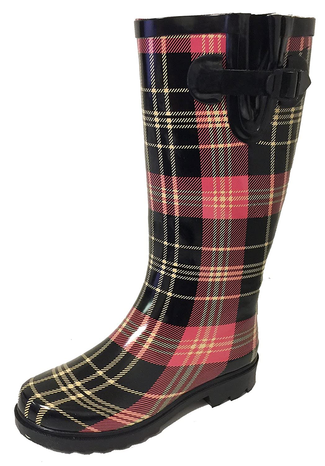 Black Red Plaid G4U Women's Rain Boots Multiple Styles color Mid Calf Wellies Buckle Fashion Rubber Knee High Snow shoes