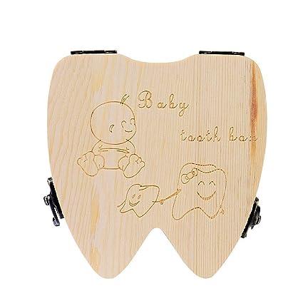 Leisial Cajita Almacenamiento Guardar Dientes de Leche Madera Caja Conmemorativa Souvenir Regalo Recuerdo para Recién Nacidos prara Niños (Inglés)