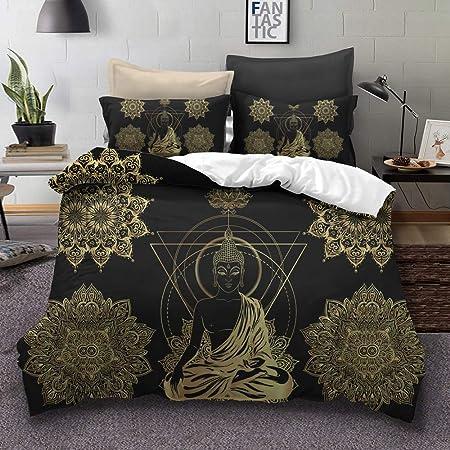 Copripiumino Matrimoniale Oro.Parure Copripiumino Matrimoniale 240 X 220 Cm Con 2 Federe Buddha