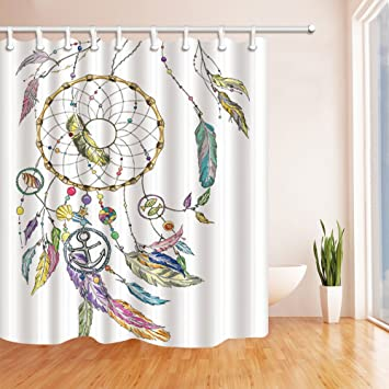 KOTOM Nautical Shower Curtains Dream Catcher With Feathers Shell Fishes Star Anchor Mildew Resistant