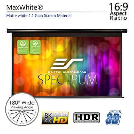 Elite Screens Spectrum Electric Motorized Projector Screen with Multi  Aspect Ratio Function Max Size 125-inch Diag 16:9 to 118-inch Diag 2 35:1,  Home