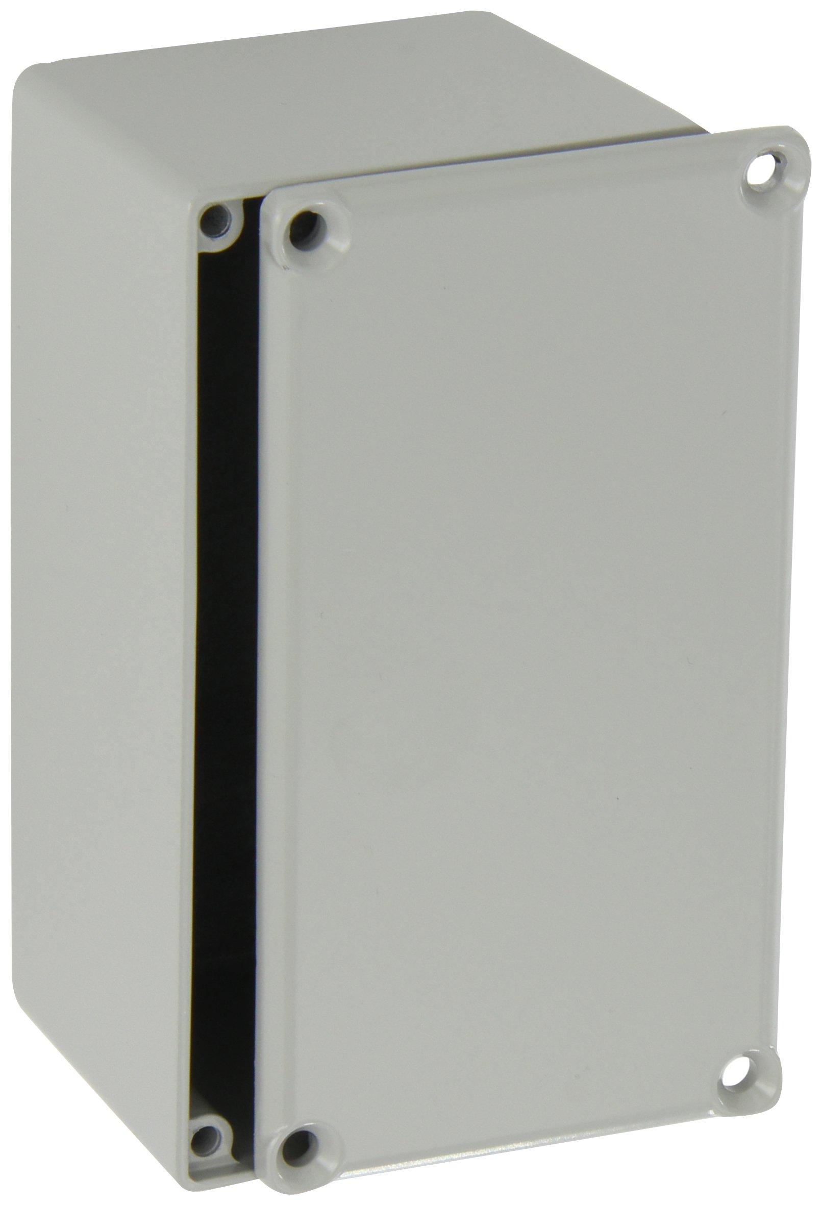 BUD Industries CU-479-G Aluminum Econobox, 4-23/64'' Length x 2-23/64'' Width x 2-1/8'' Height, Gray Painted Finish