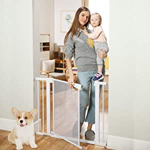"""Heele 29.5""""-40.5"""" Auto Close Safety Baby Gate,Durable Extra Wide Child Gate for Stairs Doorways, Metal Mesh Easy Walk Thru Dog Gate for House,Includes 4 Wall Cups,2.75-Inch and 5.5-Inch Extension"""