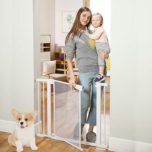 Heele 29.5-40.5 Inches Wide Auto Close Baby Gate with Metal Mesh Easy Walk Thru Door Hardware or Pressure Mounted Indoor Safety Child Pet Dog Gates for House Stairs Doorways Hallways Kitchen