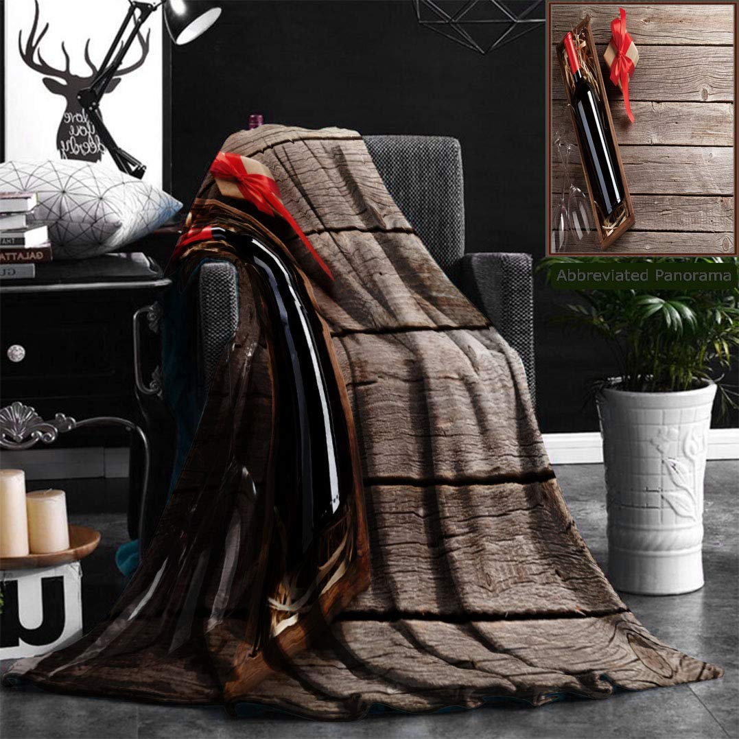 """Nalagoo Unique Custom Flannel Blankets Valentines Day Greeting Card Red Wine Gift Box And Glasses On Wooden Table Top View With Spa Super Soft Blanketry for Bed Couch, Throw Blanket 40"""" x 60"""""""