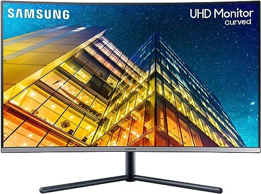 Samsung U32R592 Monitor Curvo 32 Pollici, Ultra HD, UHD, 4K, 3840 x 2160, 4 ms, 16:9, 60 Hz, 2160p, 1500R, 1 Display Port, 1 HDMI, Base a Doppio Snodo, Colore Blu/Grigio