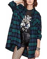 ZANZEA Women's Fannel Plaid Check Long Sleeve Shirts Buffalo Loose Casual Tartan Cardigan Blouse