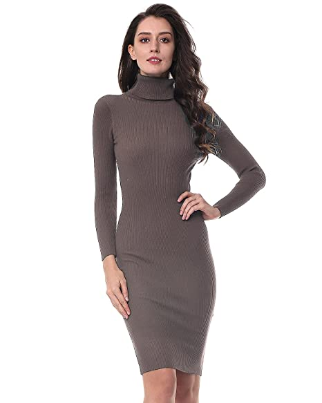 b90f605ac4 KENANCY Women s Long Sleeve Sweater Knit Dress Solid Elastic Slim Bodycon  Pencil Midi Dress (Apricot