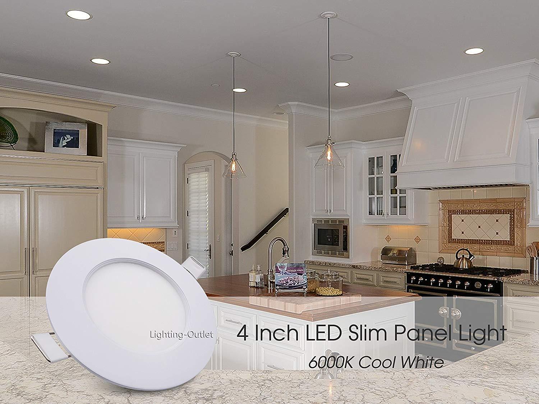 Pack of 4, 12W LED Slim Panel Light, 4 Inch Recessed Light, Dimmable, 720 lm, Warm White 3000K, ETL Listed (4 Packs 3000K) Lighting-Outlet