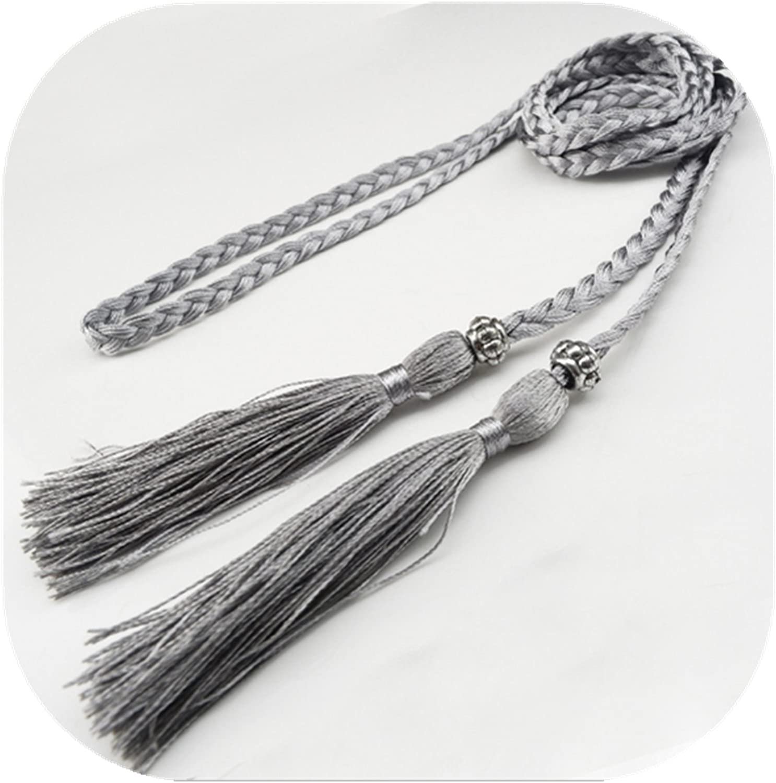 primerry Women Silver Fashion Ladies Tassels Bow Tie Knot Waist Rope Belt