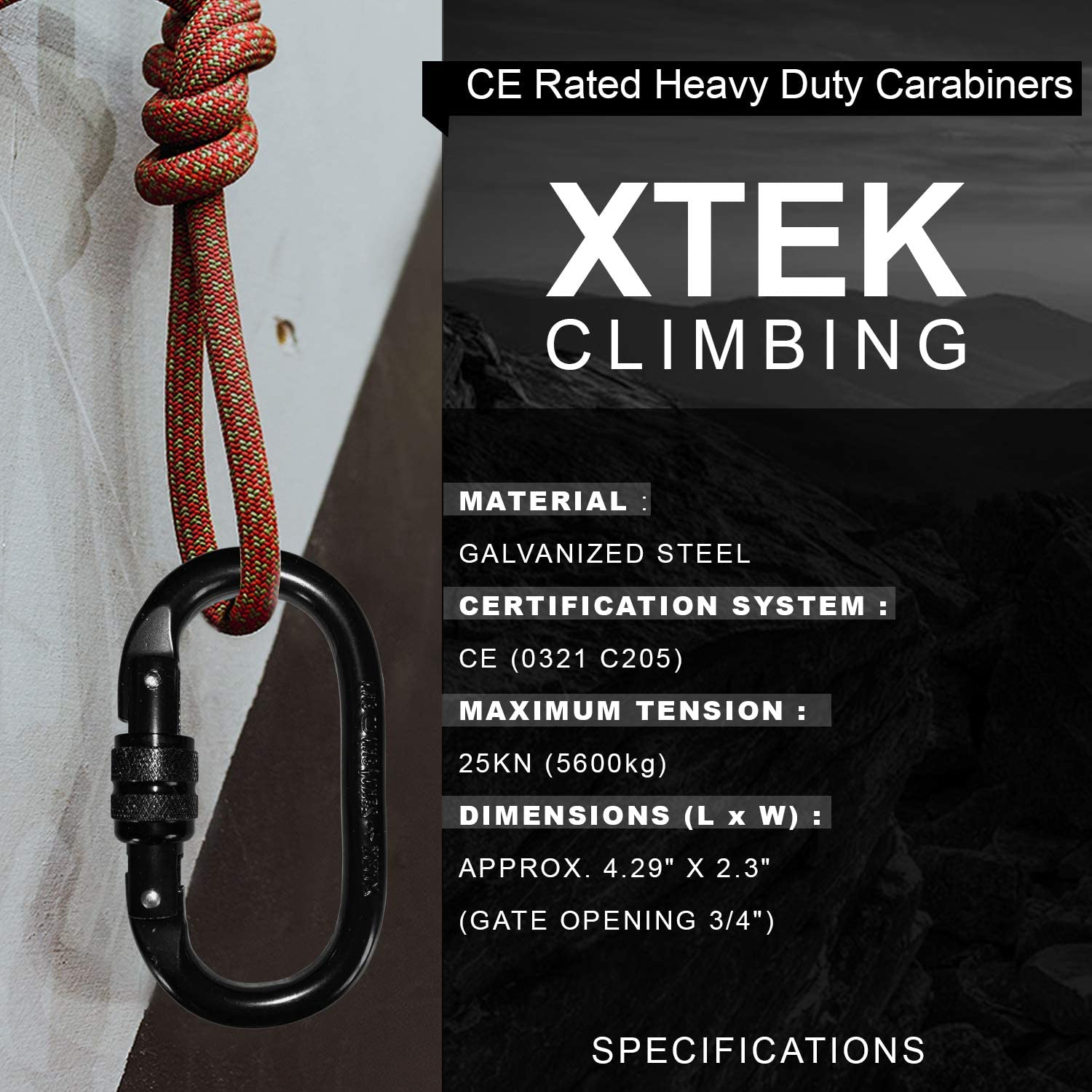 25kn=5600lb O-Shaped Steel Climbing Carabiner Screw Lock Spring Gate Protection,CE Rated Heavy Duty Carabiners For Rock Climbing Rappelling Hiking Hanging Ropes Camping Slack Lines Rigging /& Anchoring