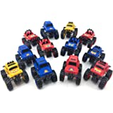 Boley Monster Trucks Toy 12 pack - assorted, large friction powered monster jam trucks that crush cars and make good stocking stuffers! (3 different shapes, 3 different colors. As pictured)