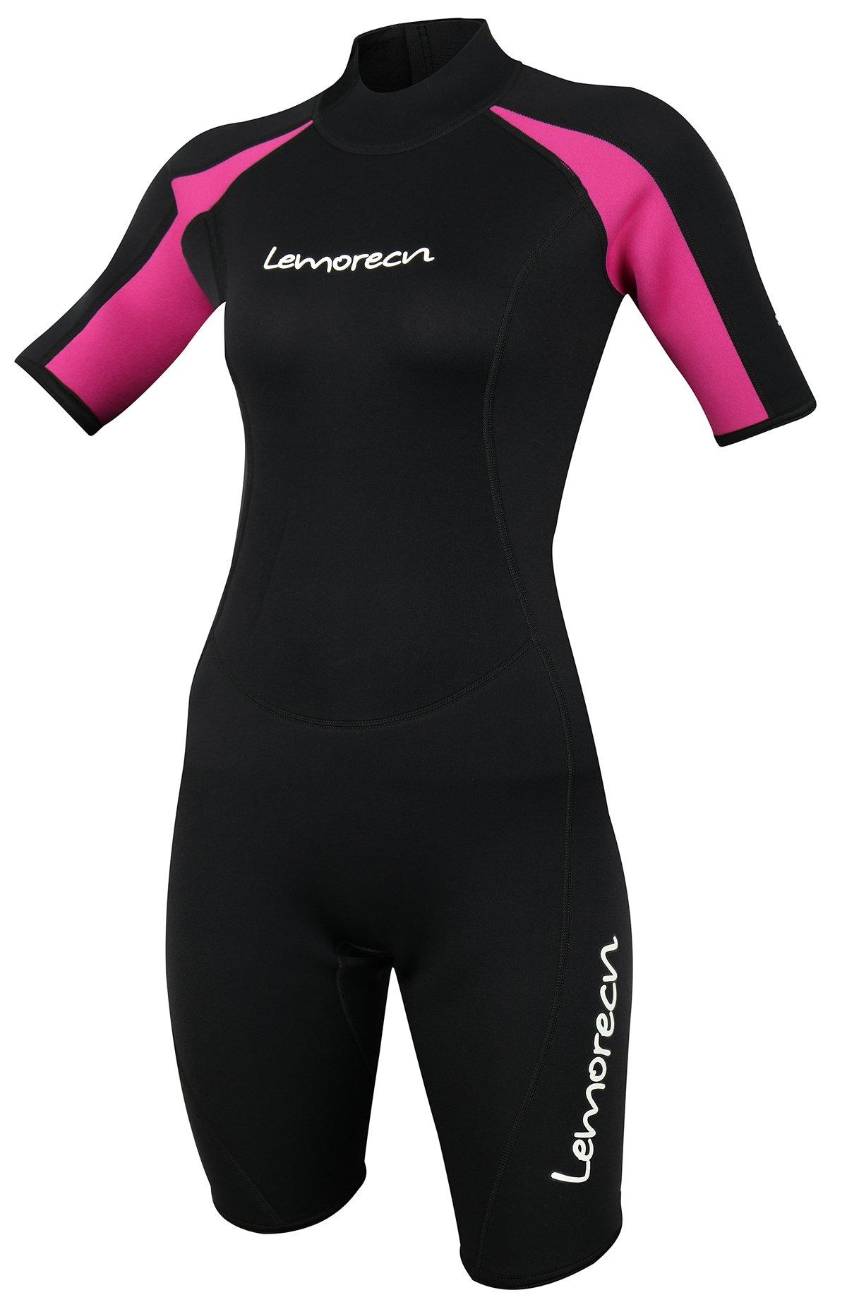 Lemorecn Wetsuits Womens Premium Neoprene Diving Suit 3mm Shorty Jumpsuit(3045-4)